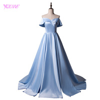 YQLNNE 2018 Simple Off The Shoulder Long Prom Dresses Party Evening Women Dress Sky Blue Satin
