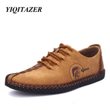 YIQITAZER 2017 Nubuck Leather Shoes Men round toe leather lace fashion shoes flats men yellow black size 6.5-9.5