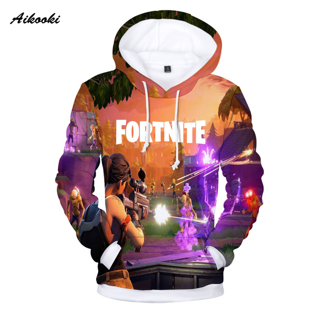 Aikooki Full 3D Print Game Fortnite Hoodies Men Cap Sweatshirt Polluver Harajuku Fortnite Battle Royale 3D Printed Men Clothing 3