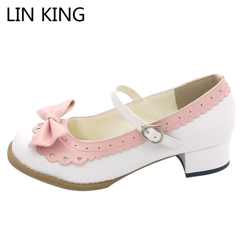 LIN KING New Medium Square Heel Women Pumps Sweet Round Toe Bow-Knot Lolita Shoes Casual Buckle Female Cosplay Single Shoes lin king japanese square heel women pumps sweet bowtie lolita shoes buckle round toe platform shoes wing cosplay party shoes