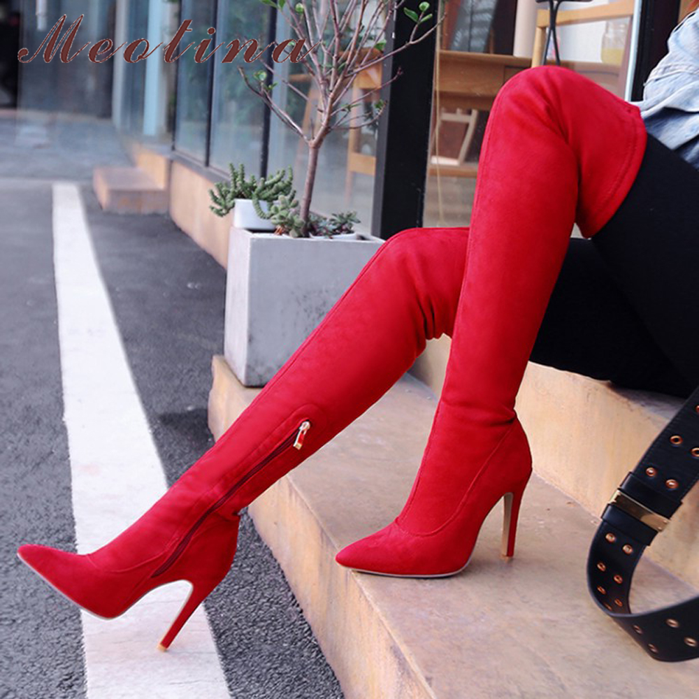 Meotina Women Over the Knee Boots Sexy Extreme High Heel Long Boots Autumn Thigh High Boots