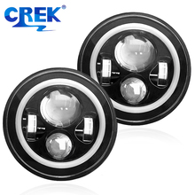 CREK 2pcs 7 9-32V 60W White Amber H4 LED Headlight For Jeep Wrangler Harley Motorcycle Hummer Lada Niva H13 Head Light