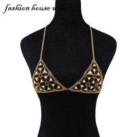 Fashion House Wife Sexy Gold Bikini Bra Body Necklace Chain Triangle Stone Beach Breast Chain Statement