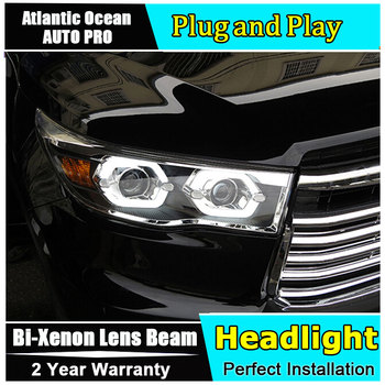 Car Styling for New Kluger Headlights 2014-2016 for Toyota Highlander LED Headlight Toyota LED Lens Double Beam HID KIT Xenon