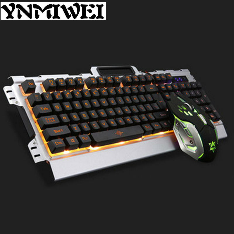 Wired USB Backlight Mechanical Gaming Keyboard Mice Game Keyboard Mouse Combo Set Colorful 3200DPI 1.5M Cable for Computer Gamer ...