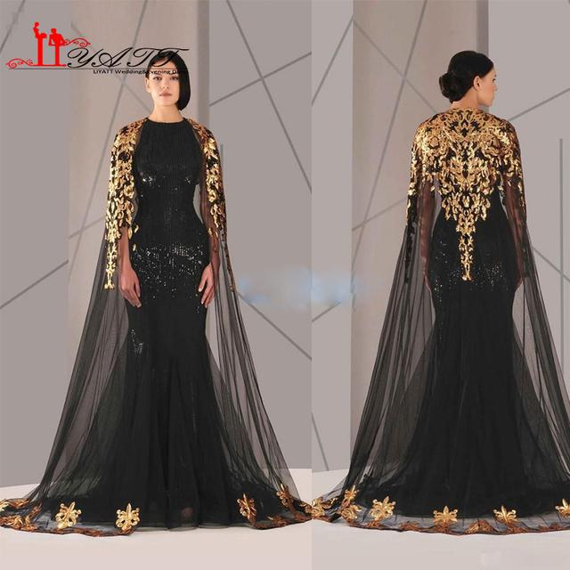Árabe Muçulmano Preto Formal Vestido de Noite 2017 Com Ouro Tule manto Tripulação Pescoço Sereia Sexy Prom Vestido Com Plus Size Liyatt