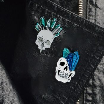 QIHE JEWELRY Skeleton pin Skull pin Vampire brooches Badges Halloween jewelry Goth Punk Dark Black Pins collection 1