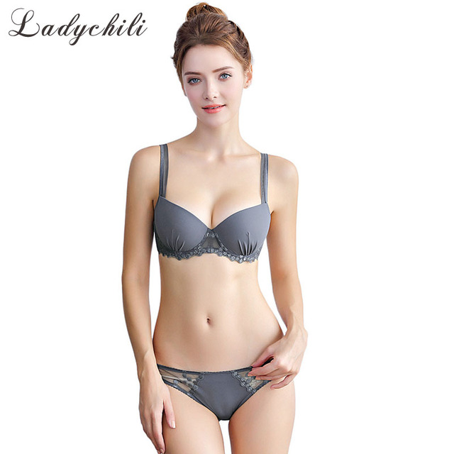 053e4665a Ladychili Women Intimates Grey BlacK Pink Soild Color Thick Foam Push Up Bra  and Panties Set Lace Embroidery Luury Bra Kit N343