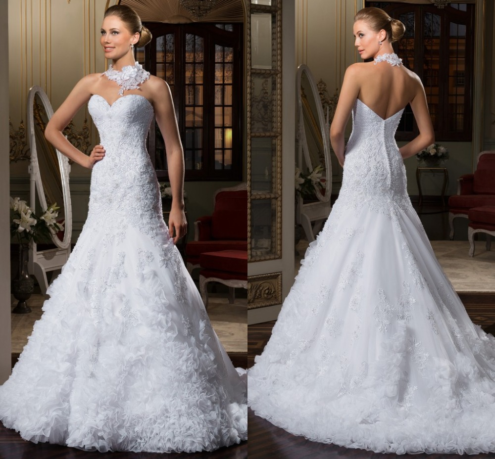 Wedding Gowns For 2015: Amazing Trumpet Wedding Dresses With Appliques Sleeveless