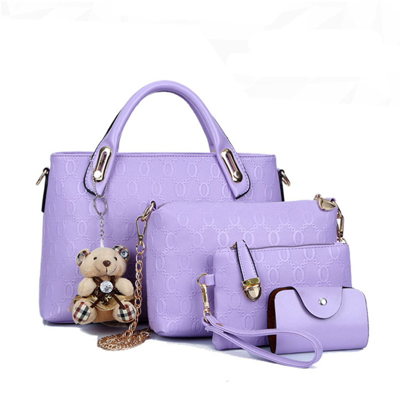 2017 New 4PCS Set Leather Shoulder Bag Handbag Design Fashion Women Lady  Tote Satchel Clutch Coin Purse Top Quality Free N578-in Clutches from  Luggage ... 6445448ce7b24