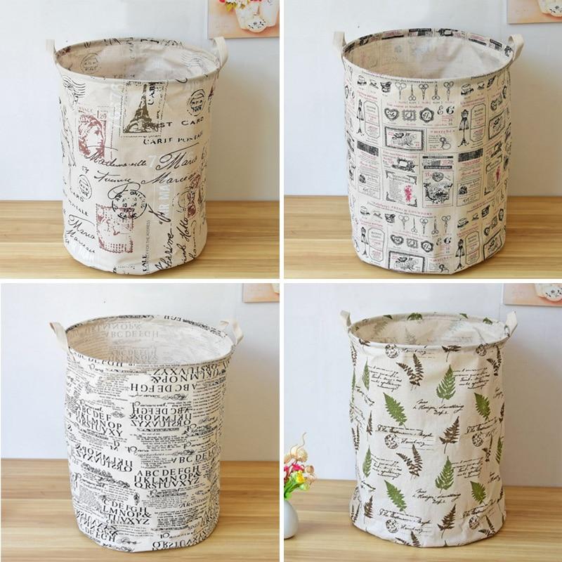 40*50cmNew arrival Zakka waterproof storage bag,English Newspaper style folding laundry basket organizer laundry storage basket