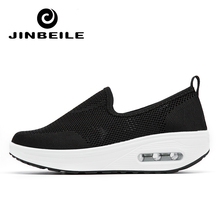 Air Cushion Toning Shoes Women Solid Color Slip-on Lose Weight Shoe Wedge Summer Daily zapatillas fitness mujer