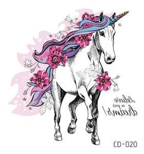 Временная татуировка унисекс, временная татуировка единорога, лошадь, цветок, водонепроницаемый, флеш-тату