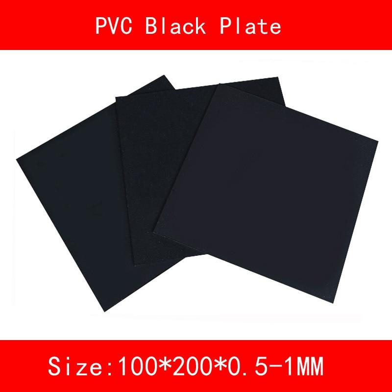 2 шт. ПВХ черный лист Пластик черный размер плиты 100*200 мм толщина 0,5 мм 1 мм