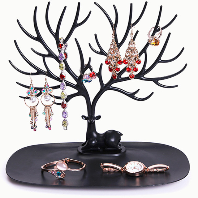 2017 New Display Organizer Holder Show Rack Jewelry Necklace Ring Earring Tree Stand Drop Shipping