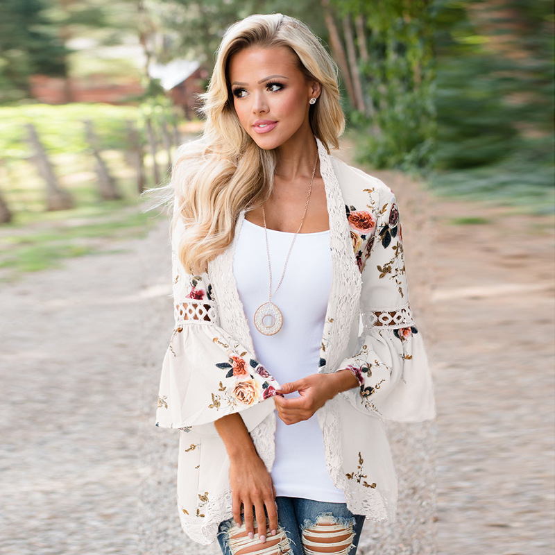 Women Summer Autumn Flare Sleeve Floral Printed Lace Patchwork Chiffon Cardigan Tops Casual Open Stitch Outwear Plus Size Kimono