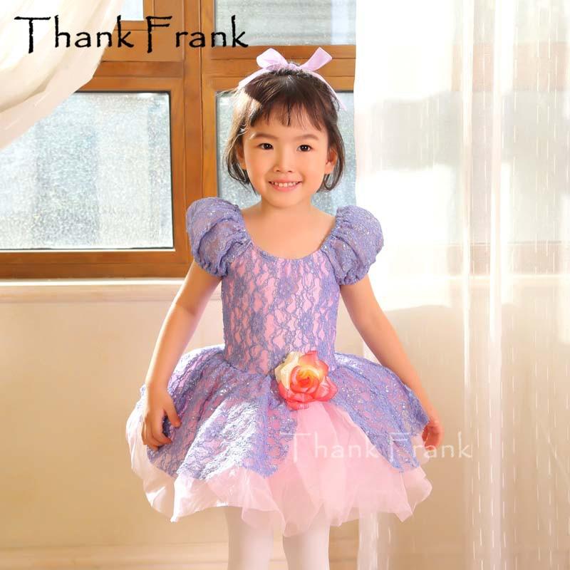 New Lace Girls Ballet Dance Dress Women Puff Sleeve Flower Sweet Performance Costume Purple Elegant Princess