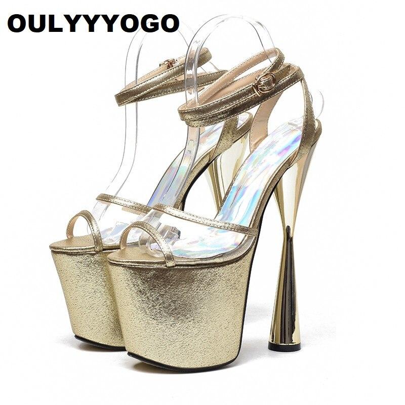 8a0f0e152fc4e Femmes Talons Sandales 34 Toe Chaussures Haute silver Nouvelles gold  Transparent Boucle Oulyyyogo De Peep 43 ...