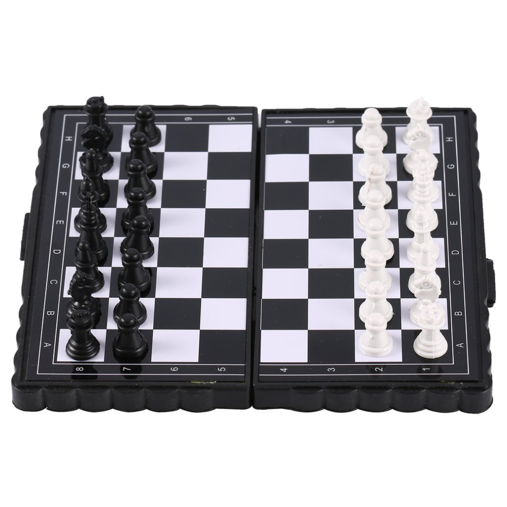1set Mini Chess Folding Magnetic Plastic Chessboard Board Game Portable Kid Toy