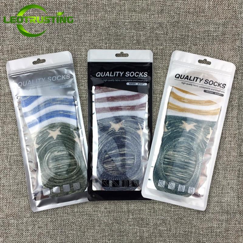 Leotrusting 100pcs Glossy Quality Socks Ziplock Bag Eco-Frinedly Plastic Window Socks Bag Small Gift Travel Outside Package Bag