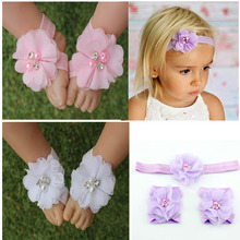 retail infant  baby pearl rhinestone flowers baby barefoot sandals headband set Photography Props children Accessories