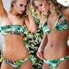 2017 New Plant Print Halter Bathing Suit Strapless Bra Push Up Sexy Bikini Set Women Swimwear Bandeau Swimsuit Beachwear Plavky