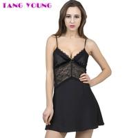 TANG YOUNG Summer Slim Women Nightwear Mini Nightgowns Silk Sexy Short Satin Nightgowns Tempatation Deep V