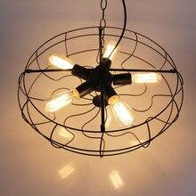 Americana Industrial 21 » Loft de Metal forma de abanico cadena lámpara colgante creativo barra de Bar de cocina comedor restaurante de la lámpara pendiente