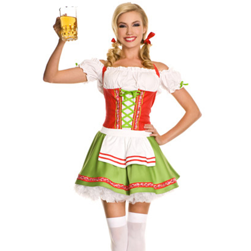 Sexy Oktoberfest Beer Girl Costume Maid French Germany Bavarian Short Sleeve Fancy Dress Dirndl For Adult Women Cosplay Costume