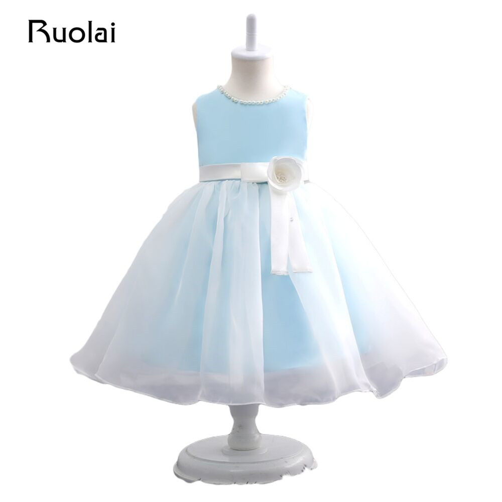 In Stock Real Photo Light Blue Flower Girl Dresses Satin Ball Gown