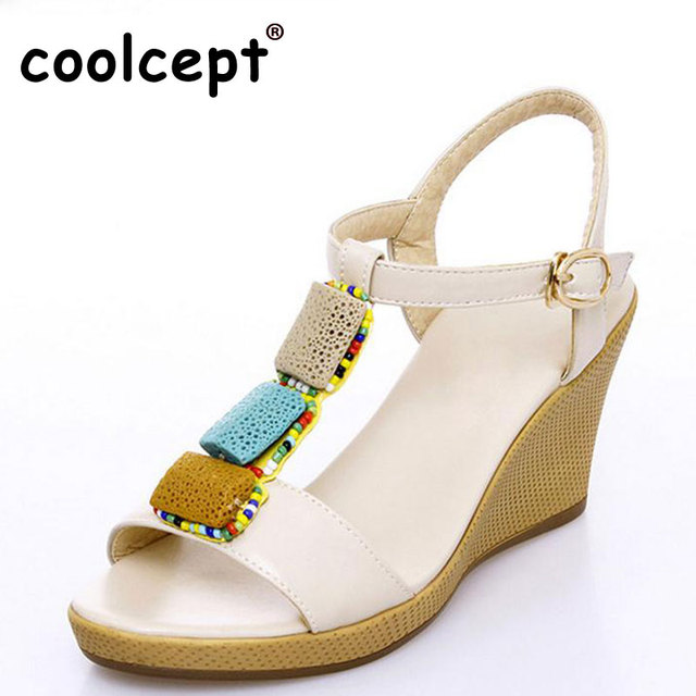 Coolcept Lady High Wedges Sandals Beading Ankel Strap Shoes Women Platform  T-Strap Sandal Vacation Party Footwear Size 34-40 5b249cffa99b