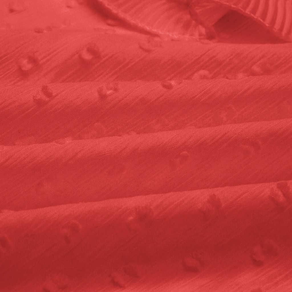 JAYCOSIN 女性ドット O ネック長袖ブラウス花 V ネック包帯シャツ袖新ファッション秋の女性のトップス 719