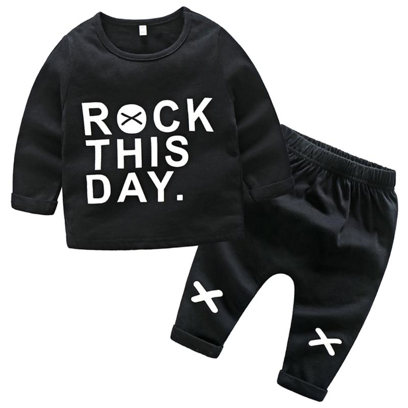 2pcs/Set Korean Spring Baby Cartoon Letters Print Long Sleeve Chiidren Boys Girls Tops + Pants comfortable Home Outfits