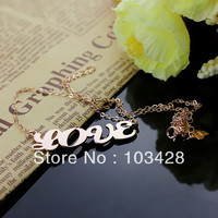 AILIN Freeshipping Cream Puff Name Necklace All Capital Letters Pendant Rose Gold Color Nameplate Necklace Personalized Jewelry