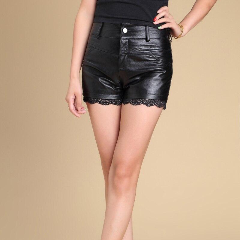 Svadilfari all'ingrosso 2017 nuovi bicchierini di modo delle donne di pelle di pecora bicchierini mini sexy shorts in pelle plus size nero corto femminile