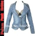 Punk Rock Biker Spike Jeans Jacket Women Spike Studded Shrug Shoulder Outwear Coats Women Denim Cropped Vintage Denim Jackets