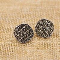 925 Sterling silver jewelry simple mosaic women's ear buckle