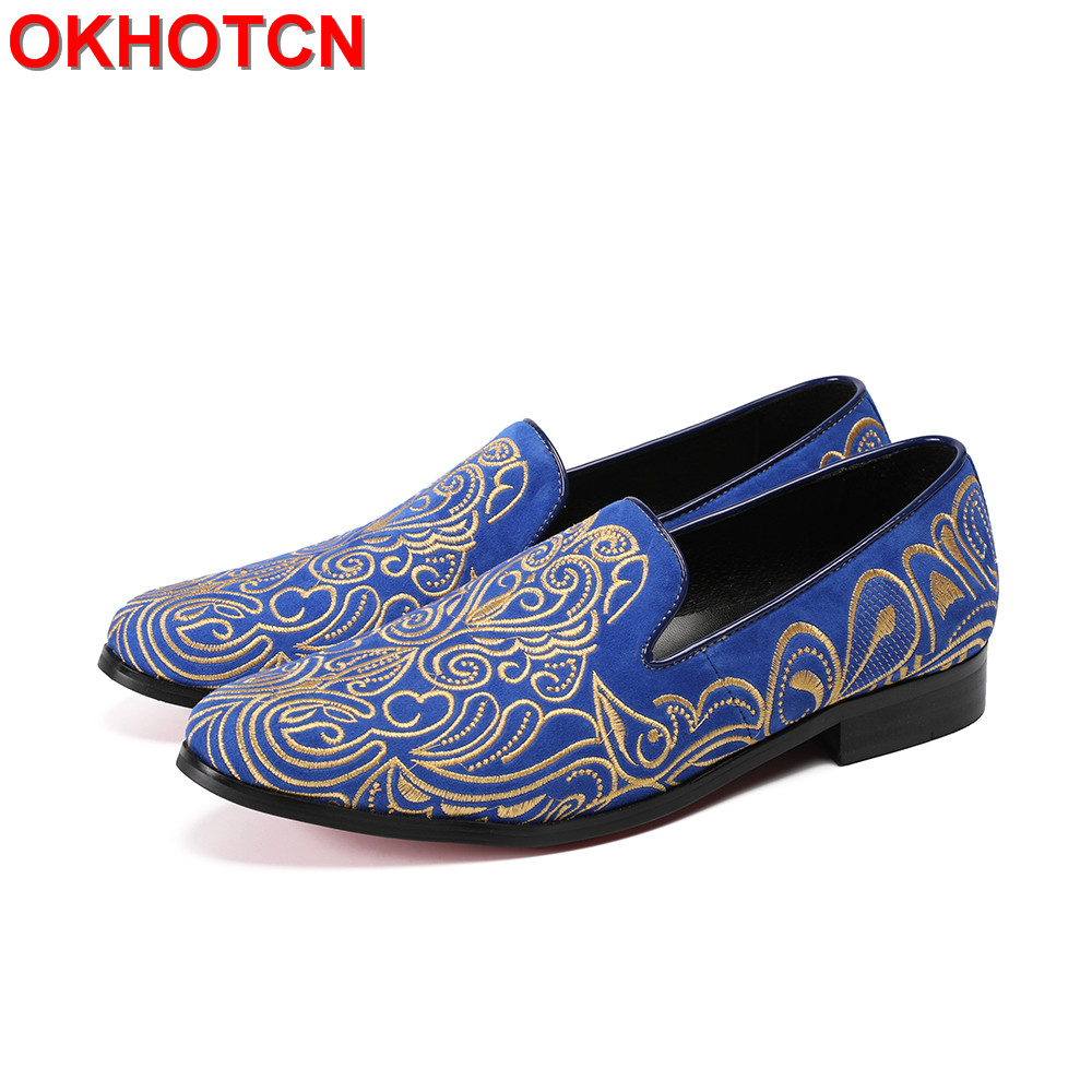 цены на Embroidered Mens Suede Shoes Blue Red Casual Leather Men Shoes Plus Size Men'S Loafers Noble Gold Floral Print Mocasines Hombre в интернет-магазинах