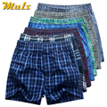 7Pcs/Lot Mens Underwear Boxers Shorts Cueca Cotton Underpants Male Plaid Loose Comfortable Home Week Panties High Quality S-3XL