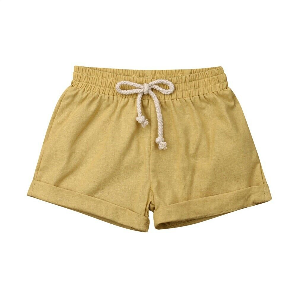 yellow linen cotton baby shorts