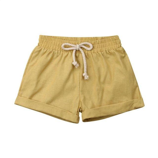 yellow linen cotton baby shorts