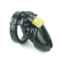 Black Plastic Male Chastity Device CB6000S Adult Cock Cage With 5 size Penis Rin