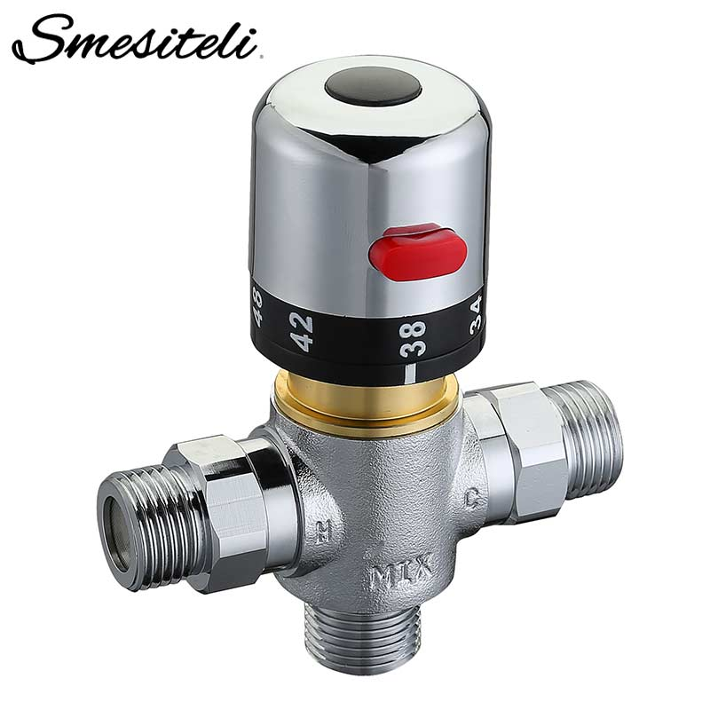 Solid Brass 3 way Theremostatic Mixing Valve 1 2 IPS Male Connections Solar Water Heater Valve