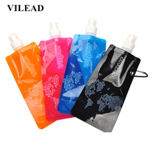 6 Colors Foldable 480ML PVC Outdoor Water Bag Bottle Can Hung On Backpack Portable Water Bag for Camping Hiking Cycling Hunting цена и фото