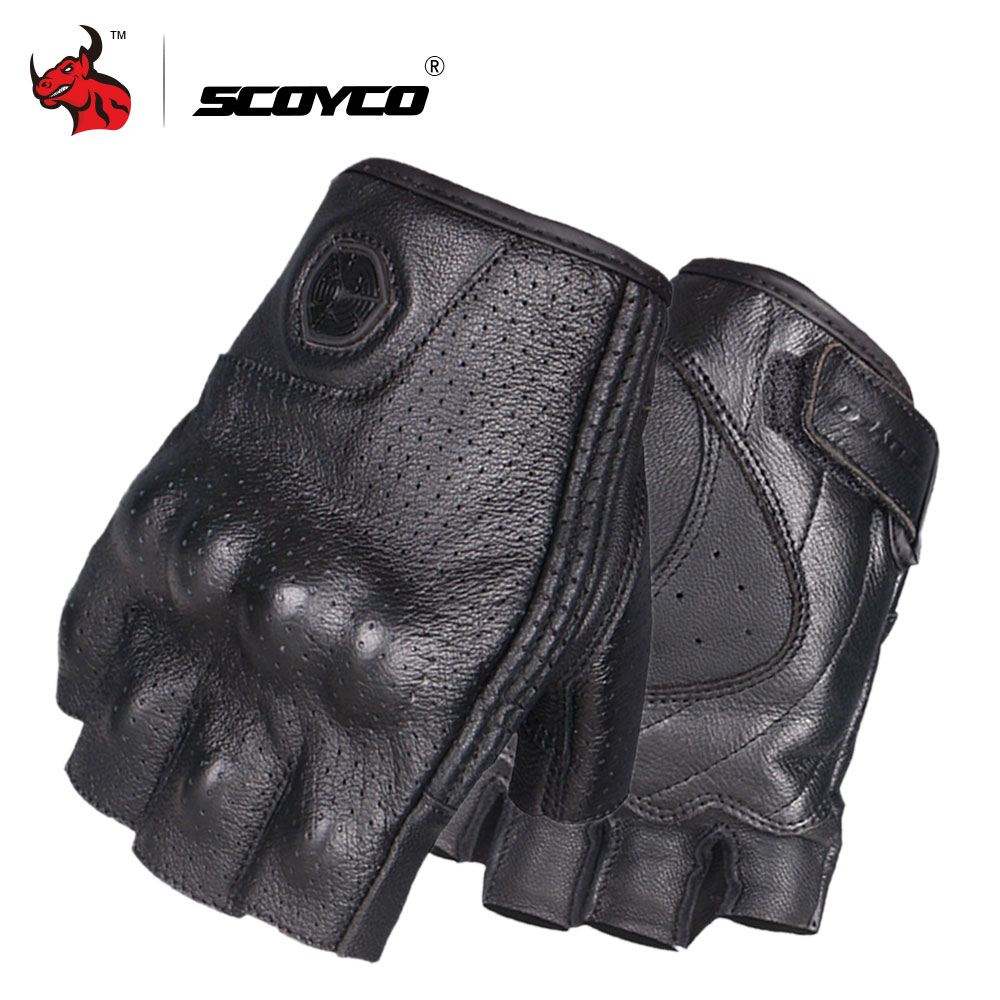 SCOYCO Motorcycle Gloves Leather Moto Gloves Summer Breathable Motocross Racing Glove Retro Half Finger Guantes Moto Black pro biker motorcycle riding gloves breathable motocross off road racing moto full finger gloves with stainlesssteel injection