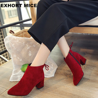 2018 Women Boots Flock Ankle Boots Round Toe Winter Women Boots Ladies Party Western Stretch Fabric