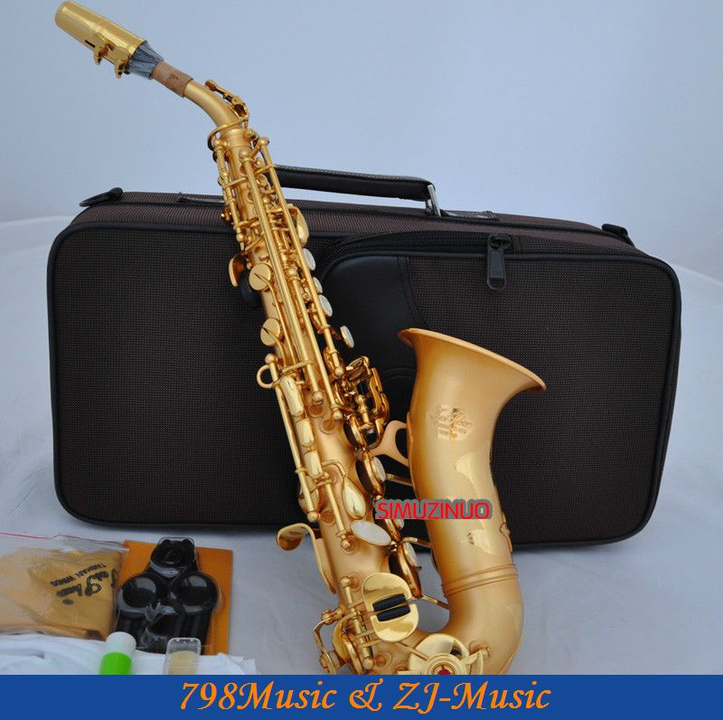 Satin Gold Curved Soprano Saxophone Bb Sax High F With Case