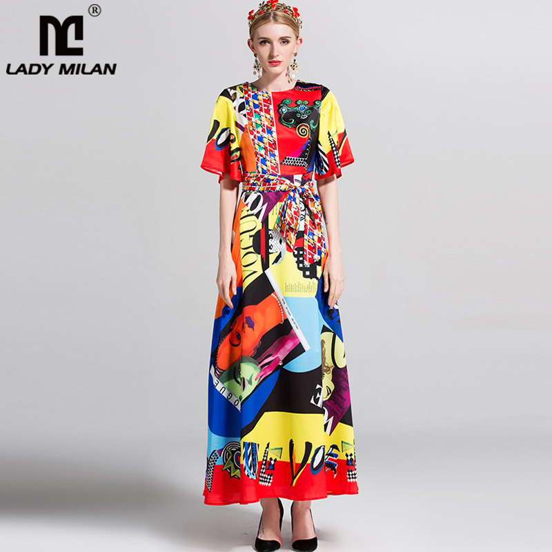 New Arrival 2018 Womens O Neck Short Sleeves Printed Sash Belt High Street Fashion Long Casual Dresses