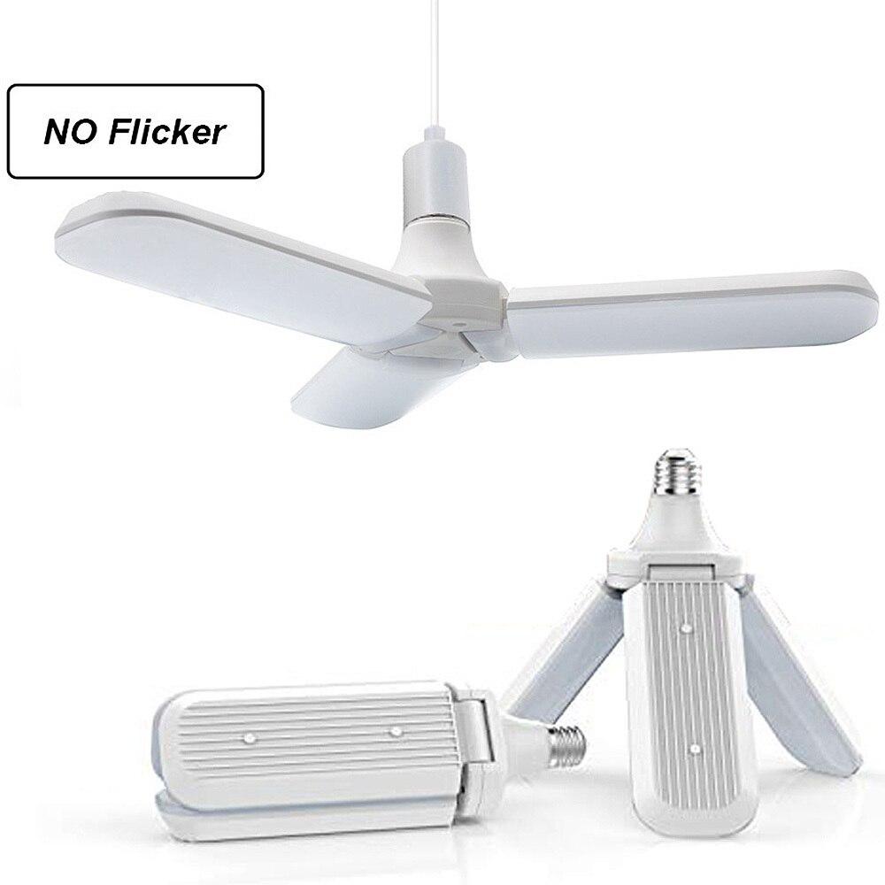 45 w e27 lâmpada led smd2835 228leds super brilhante dobrável ventilador lâmina ângulo ajustável lâmpada do teto casa luzes de poupança energia