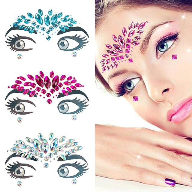 632dd802c9 US $1.65 17% OFF|1 PC Adhesive Face Stickers Jewelry Gems Temporary Tattoo  Face Jewelry Festival Party Body Gems Rhinestone Flash Tattoos Make Up-in  ...